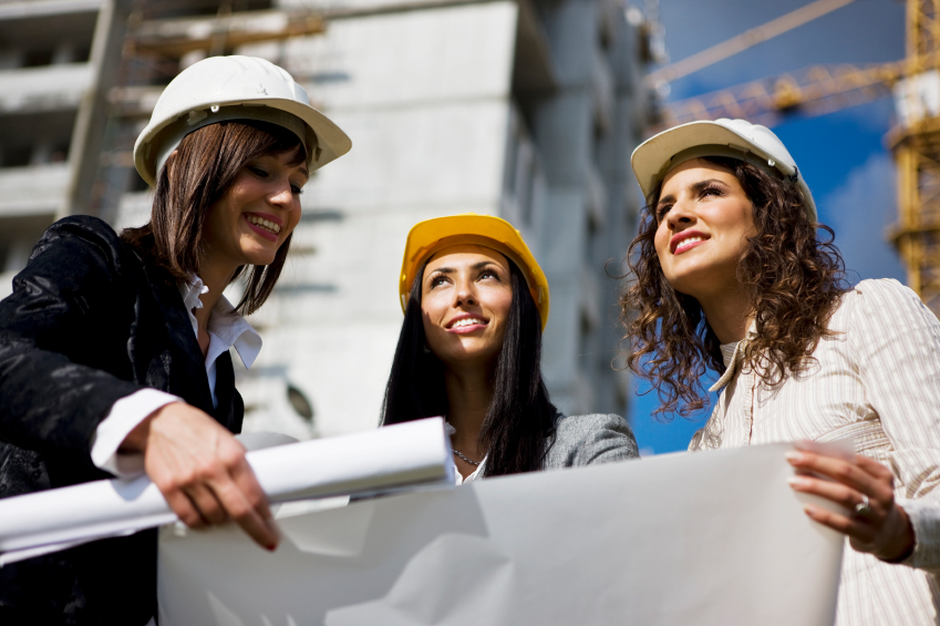 Three female architects with blueprint, selective focus, canon 1Ds mark III