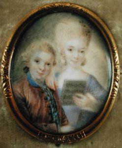 JPH73646 Wolfgang Amadeus Mozart (1756-91) and his sister Maria-Anna, called 'Nannerl' (1751-1829) (ivory) by Alphen, Eusebius Johann (1741-72) ivory Mozart Museum, Salzburg, Austria German, out of copyright